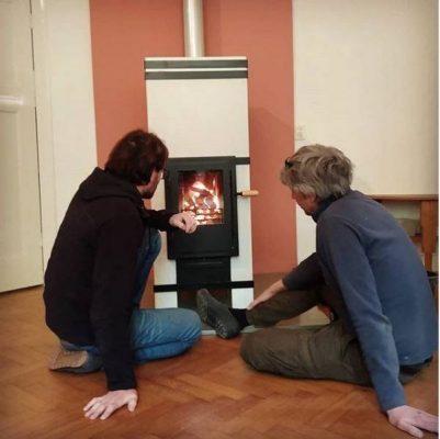design houtkachel met dubbele verbranding